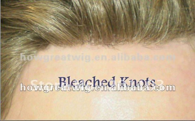 Bleach Knots Human hair Toupee For Men Full lace Base Natural Looking free shipping