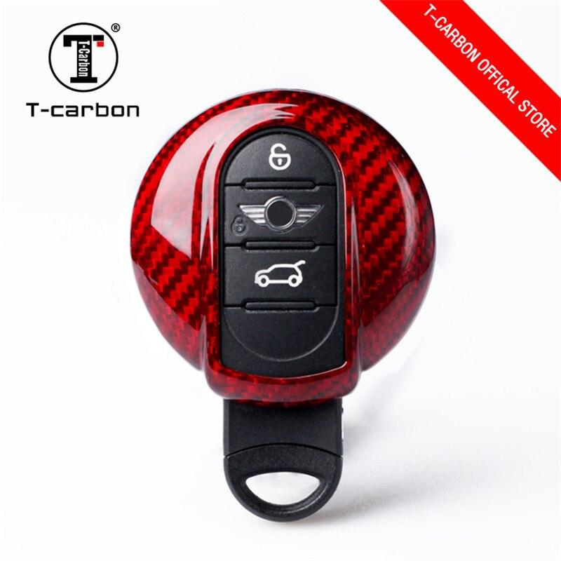 Car styling Caibon Fiber Car Remote Key Case Car Key Cover Keychain Key Ring For Mini