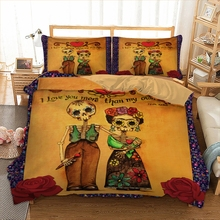 Cute love skull Bedding Set Duvet Cover With Pillowcases Twin Full Queen King Size Bedclothes 3pcs home textile