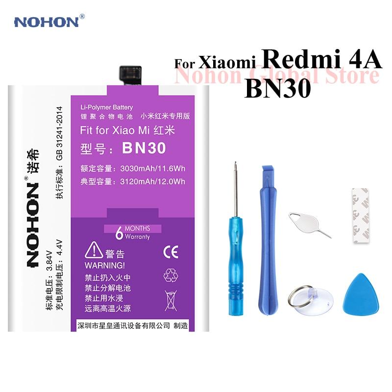 Nohon Battery For Xiaomi Redmi 4A BN30 Redmi4A 3030mAh 3120mAh built-in High Capacity Phone Bateria Li-polymer Batteries + Tools