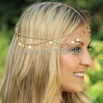 Fashion Gold Coin Headchain Head Chain Headpiece Jewelry For Women Hair  Accessory Accessories Boho Grecian Goddess Headdress-in Hair Jewelry from  Jewelry ... 7c582dca42c