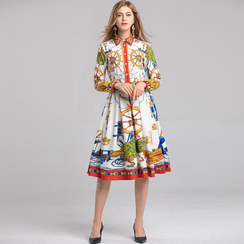 2019 디자이너 활주로 봄 여름 유럽과 미국의 여성 패션 새로운 옷깃 신선한 인쇄 긴 소매 중순 송아지 드레스 트렌드-에서드레스부터 여성 의류 의  그룹 1