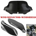 8'' WINDSHIELD + PAIR WIND DEFLECTOR FAIRING AIR WING FOR HARLEY TOURING CUSTOM