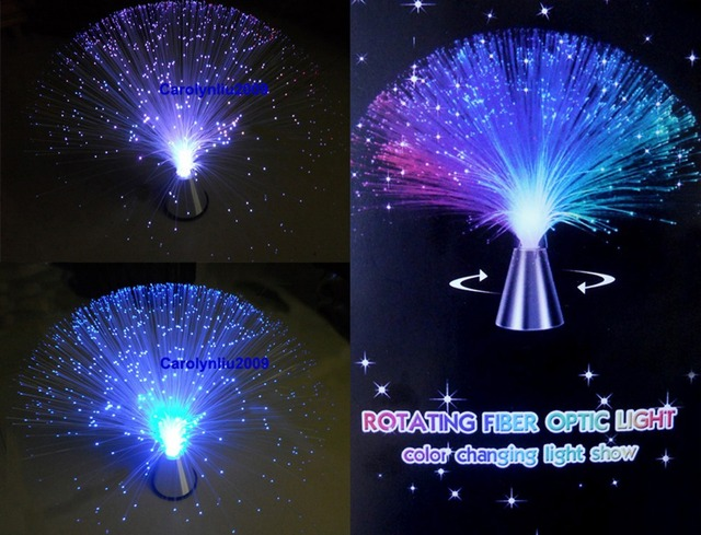 Free shipping Auto rotating color changing fiber optic lamp~fairy party all event night lamp