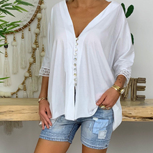 2019 New Autumn Women Casual Loose Lace Blouse Shirt V-neck Button Chiffon Tops Plus Size