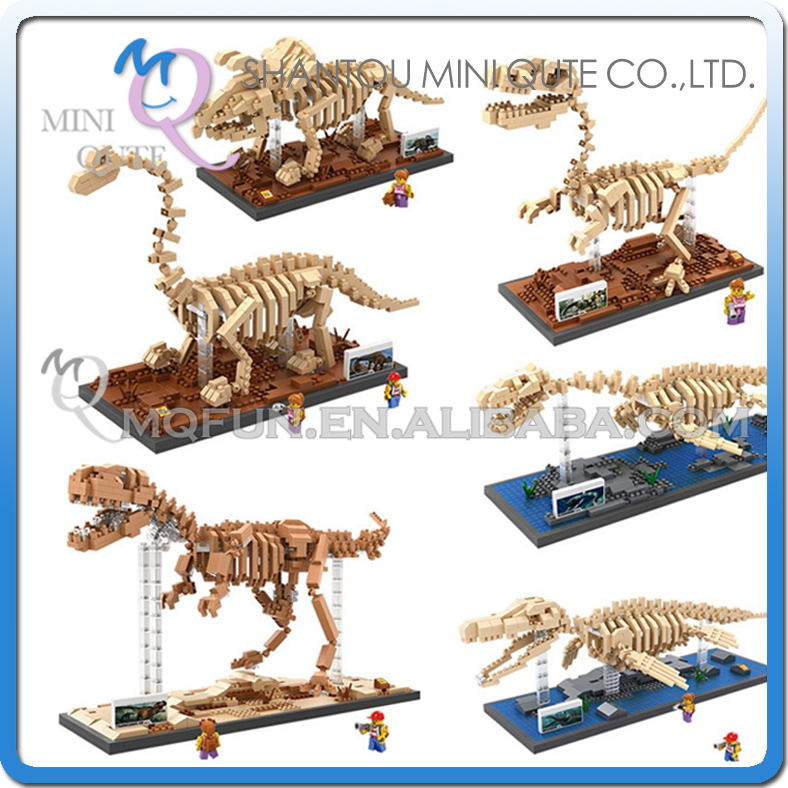 Mini Qute LOZ horned dinosaur Tyrannosaurus Rex bones Dragon skeleton diamond plastic building blocks bricks educational toy loz mini diamond block world famous architecture financial center swfc shangha china city nanoblock model brick educational toys