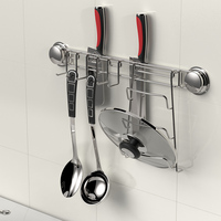 Kitchen Combination Rack Knife Holder and Pot Lid Rack, Kitchen Stainless Steel Hooks Rack with Suction Cup