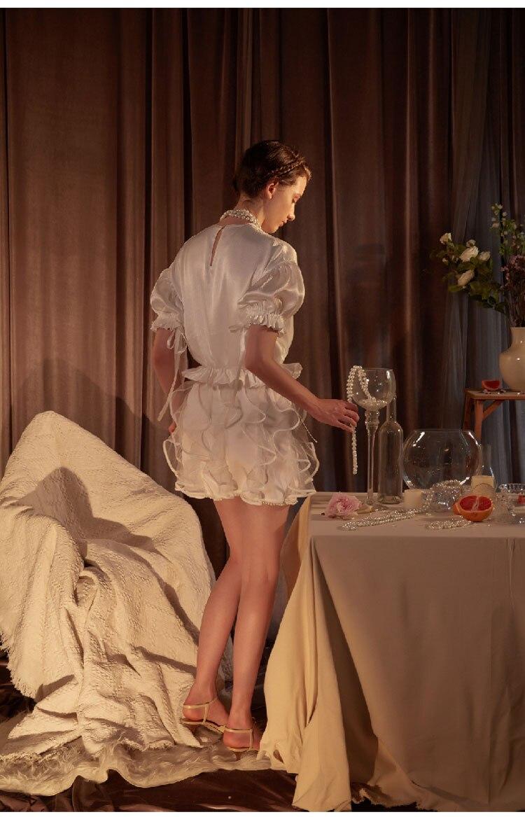 Здесь продается  Guesod 2018 Summer Women Skirt Satin Designer Female Transparent Ruffles Pleated Pearl Hem Skirt  Одежда и аксессуары