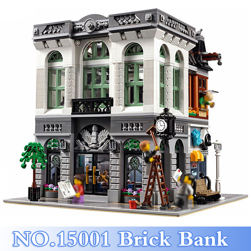 15001 Lepin City Series 2413Pcs Brick Bank Figures Building Blocks Bricks Set Toys For Children Gift Model Kits Compatible 10251 lepin 02006 815pcs city series police sea prison island model building blocks bricks toys for children gift 60130