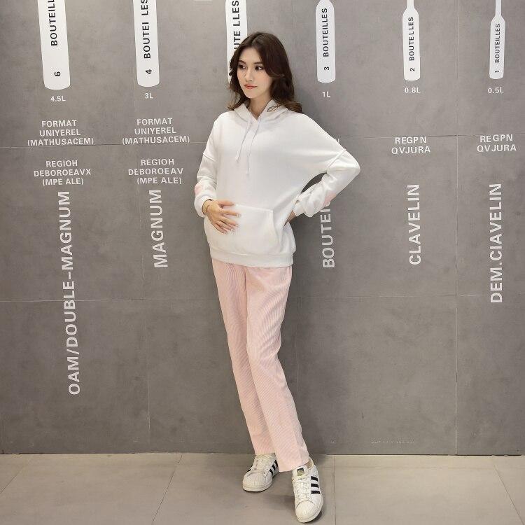 033547da97c Conjuntos de las mujeres Para Las Mujeres Embarazadas Blanco Canguro  Chaqueta + Traje Pantalón de Pana de Color Rosa de Terciopelo de Maternidad  de Moda de ...