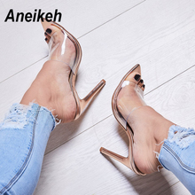 Aneikeh 2019 Transparent Ladies Sandals Shoes Fashion Sexy O
