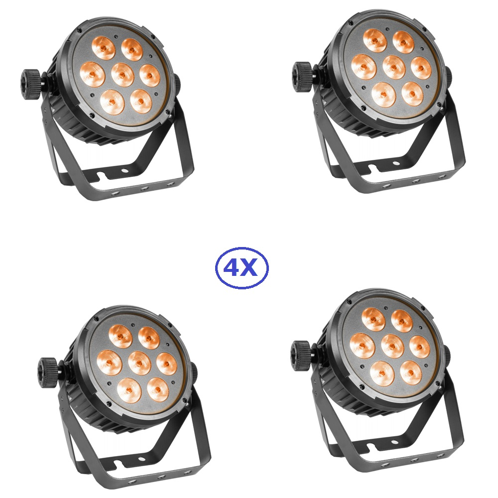 4 Unit LED Flat Par Light 7X8W RGBWA/RGBWUV 5IN1 LED Stage Par Light With DMX512 For Party Wedding Disco KTV Events Lighting freeshipping 8 unit 6x6w rgbwa uv led battery operated uplighting wireless dmx par light wedding up lights ios