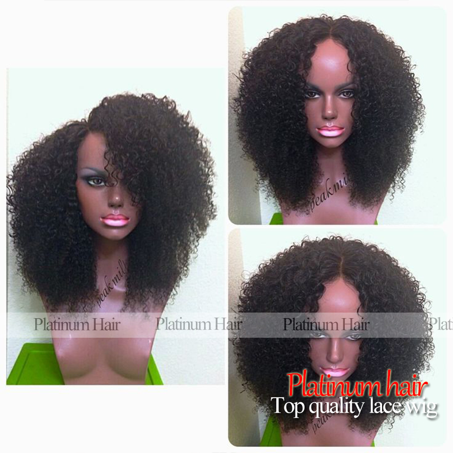 2016 Hot Style Heavy Density Afro Kinky Curly Wigs With Baby Hair Heat Resistant Synthetic Lace