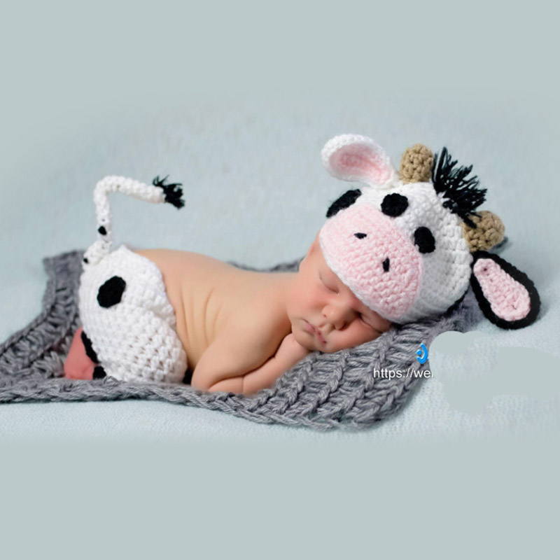 Infant Little Baby Boy Girl Photo Shoot Cow Outfits Clothes Newborn Baby Birthday Cute Photography Props Clothes bebe fotografia