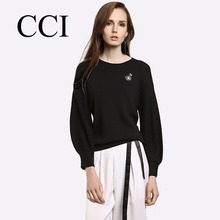 ICC Spring Autumn Women Sweater Black Pullover Bishop Sleeve Knitted Wear  Loose Short Sweaters Breathable Lady Tops CCI035-5 2682782ae099
