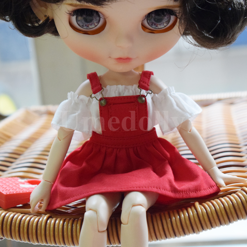 1PCS 4 Colors Off-shoulder T-shirts Strap Dress For Blyth, Azone, Licca, Barbies Doll Clohtes Overalls Outfits Accessories