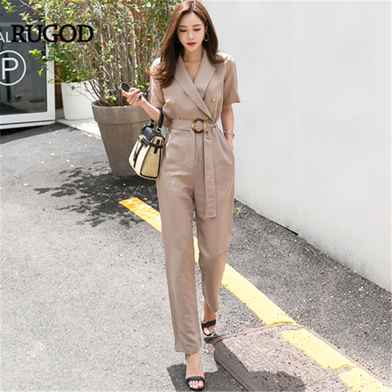RUGOD 2019 Women   Jumpsuit   Office lady Solid Suit collar Ankle-length pants Straight Sashes Fashion Female   jumpsuit