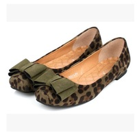 Ladies Bow Shoes Flat Square Toe Loafers Leopard Printed Max Size 10 Slip On Personalizados Low