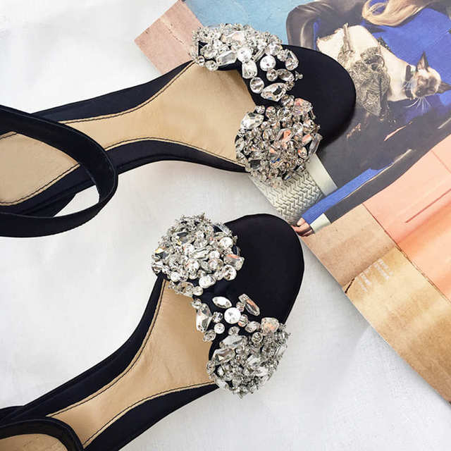 Hot Glitter Crystal Embellished Woman Sandals High Thin Heel Woman Stiletto Buckle Design Shoes Woman Bow Tie Decor Black Solid
