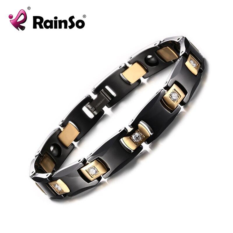 все цены на Rainso Hematite Bracelet Black & Gold color Bio Energy Ceramic Bracelet Bangle Health Chain Charms Women And Men Jewelry