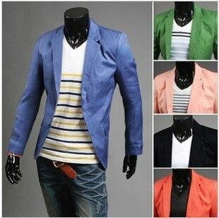 Новое поступление одной кнопки досуг блейзеры мужчины мужской 2015 мода уменьшают подходящие свободного покроя костюм красный темно-синий пиджак платье одежда M-XXL
