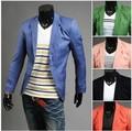 Recién llegado de un solo botón de ocio Blazers hombres 2015 moda Slim Fit traje Casual rojo azul marino azul vestido de chaqueta de la ropa M-XXL