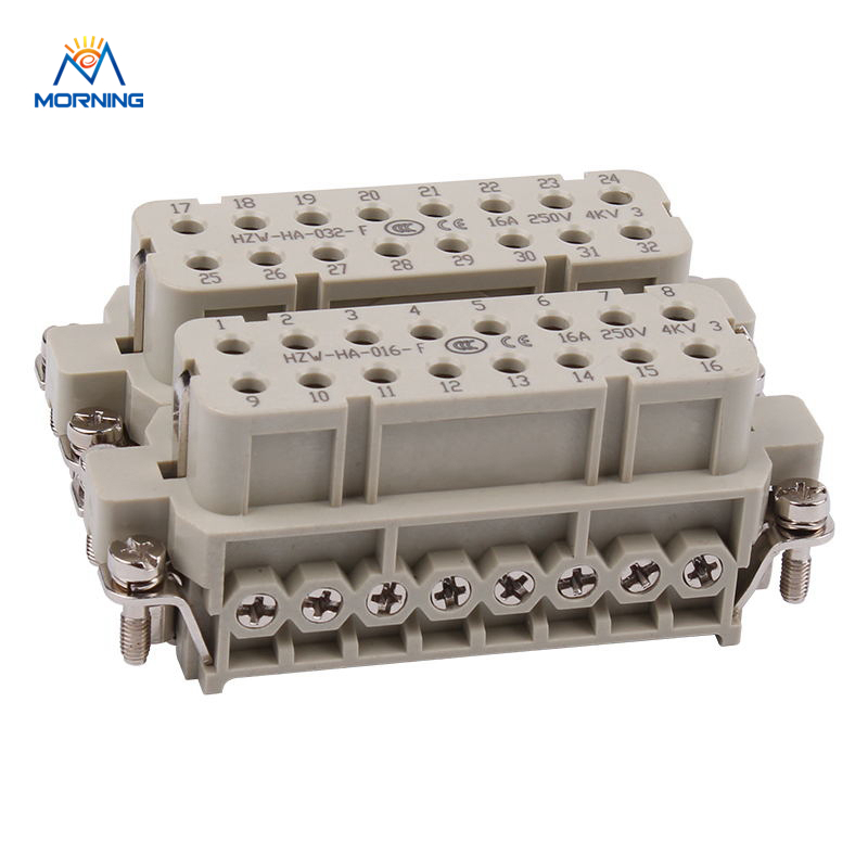 HA-032-F Industrial Usage Bulkhead Mounting16A 250V Surface Silver Plated Material Copper Alloy Female Insert 32 Pin Connector usb3 0 round type panel mounting usb connecter silver surface
