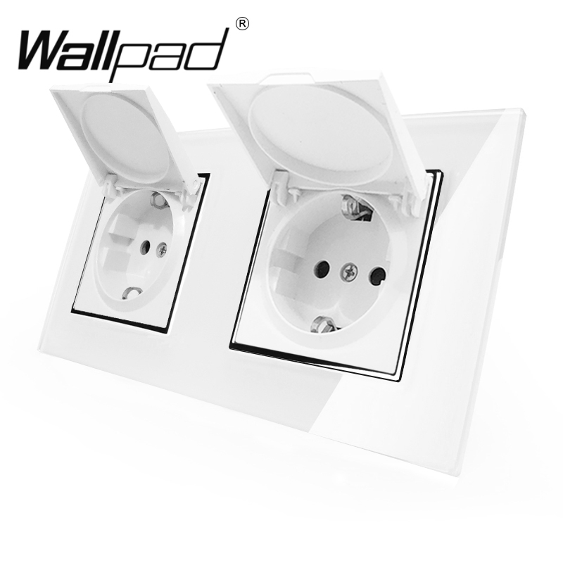 double-dust-cap-eu-schuko-socket-wallpad-white-crystal-glass-panel-110v-250v-double-schuko-wall-power-socket-eu-with-claws-clips