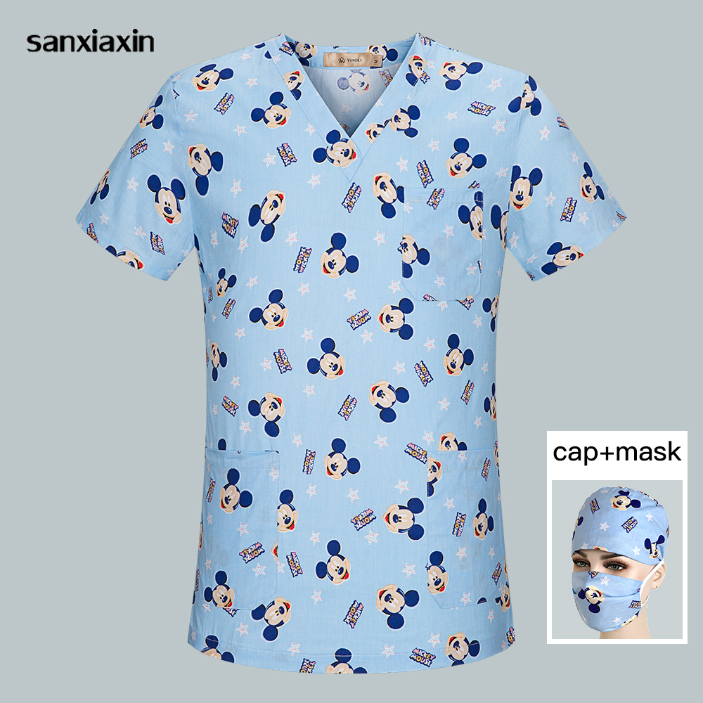 Hospital Nurse Scrub Tops Women Pharmacy Scrub Work Clothes Breathable Mickey Printing Surgical Medical Uniform Summer Wholesale
