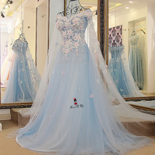 Vintage Dresses Blue Wedding: Baby Blue Wedding Dress Vintage Bohemian Wedding Gowns