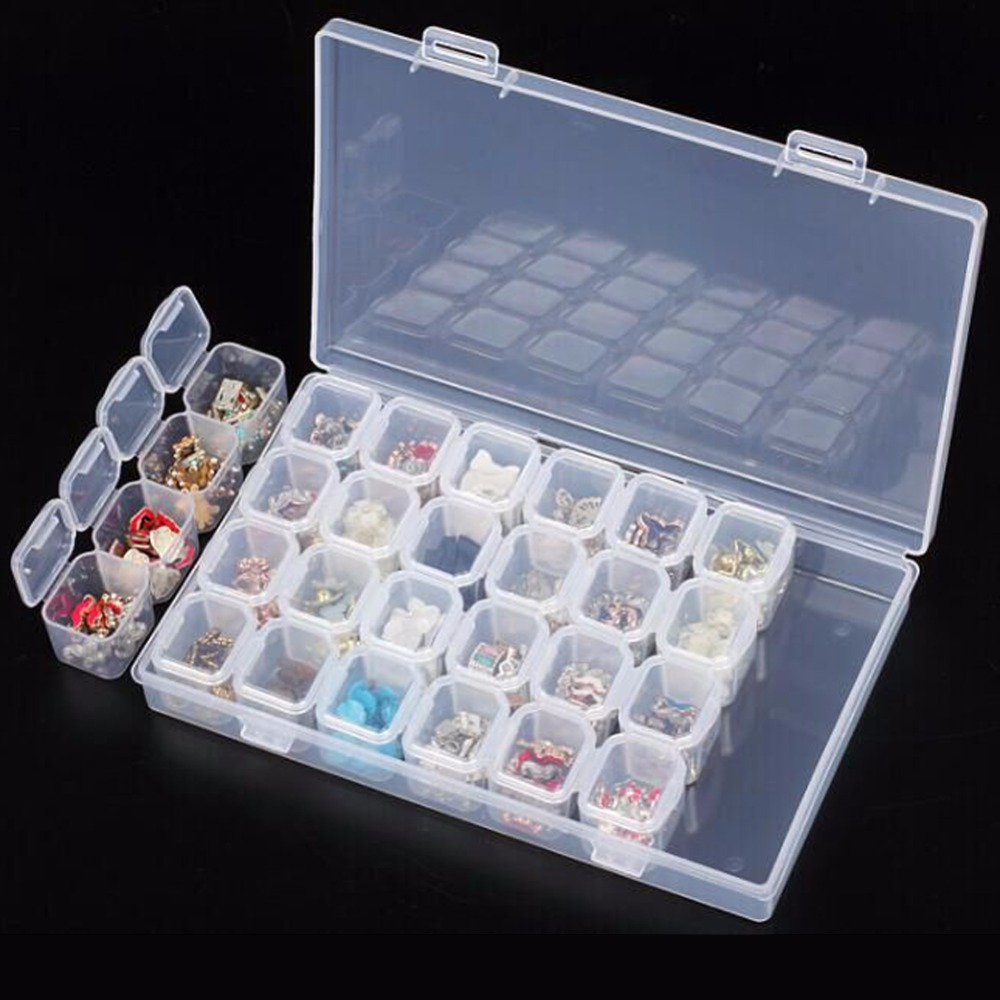 2pc/pack 28 Separate Slots Empty Storage Box Nail Art Rhinestones Tools Jewelry Beads Display Container Case Organizer Holder