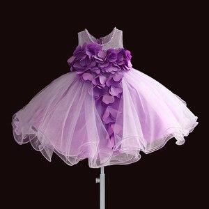 Image 3 - Nowa koronkowa sukienka dla dziewczynek płatek kwiatu szyfonowa sukienka dla księżniczki 1 rok dla dzieci dziewczyny suknie urodzinowe boże narodzenie Vestido 3 M 4 T