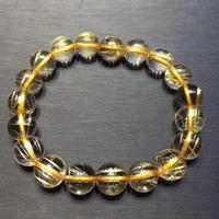 10mm Genuine Natural Brazil Gold Hair Rutilated Bracelet Round Beads Stretch Women Men Wealthy Business Luxury Jewelry AAAAA