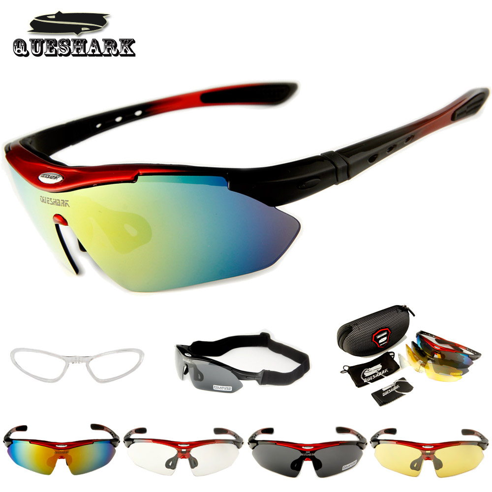 Queshark Polarized Cycling Sunglasses Bike Racing Bicycle Goggles Cycling Glasses Camping Hiking Fishing Eyewear+ Myopia Frame obaolay outdoor cycling sunglasses polarized bike glasses 5 lenses mountain bicycle uv400 goggles mtb sports eyewear for unisex