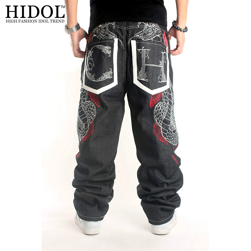 2017 Street men hip hop costume python embroidery slacks skateboards pants jeans