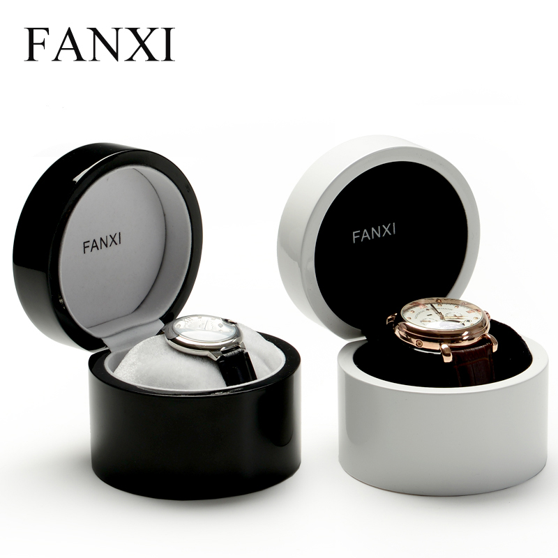 FANXI Luxury White Color Storage Lacquered Wood Bangle Bracelet Watch Packaging Box With Pillow For Men Women Watch Box