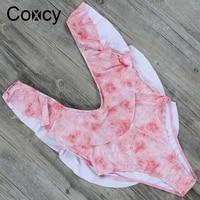Coxcy Sexy Backless One Piece Swimsuit Print Bathing Suit Swimwear Vintage Beach Wear Swimwear Monokini High
