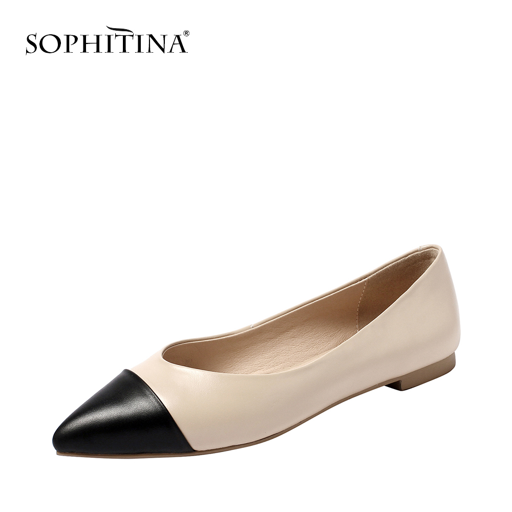 SOPHITINA High quality Cow Leather Casual Slip on Consise Flats for Woman Normal Size Pointed Toe