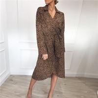 New Women Sexy V Neck Maxi Boho Dress Office Ladies Leopard Print Summer Beach Party Long Sleeve Sashes Sundress Chiffon Vestido