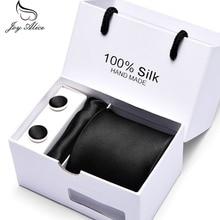 2019 Luxury Black Paisley Men Tie Set Cufflinks Tie and Handkerchief Set with Gift Box Tie for Men Necktie Wedding Dress Gravata marvis black box gift set
