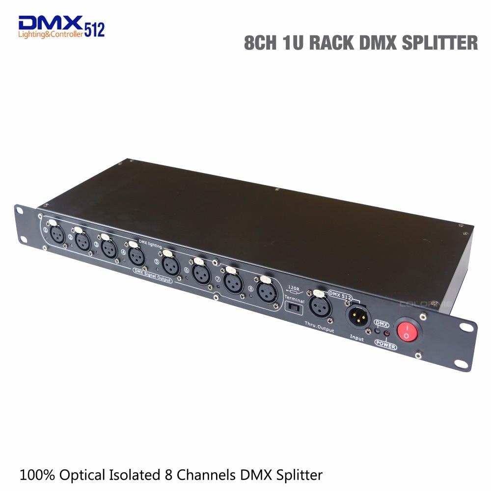 все цены на 2018 High Quality DMX Distributor 8 Channels 1U RACK DMX Splitter optical isolated led Controller for stage lighting онлайн