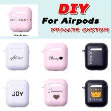 Custom name logo image Soft Silicon Matte Case For AirPods Case for Bluetooth Wireless Airpod Cover DIY Customized Photo Letters