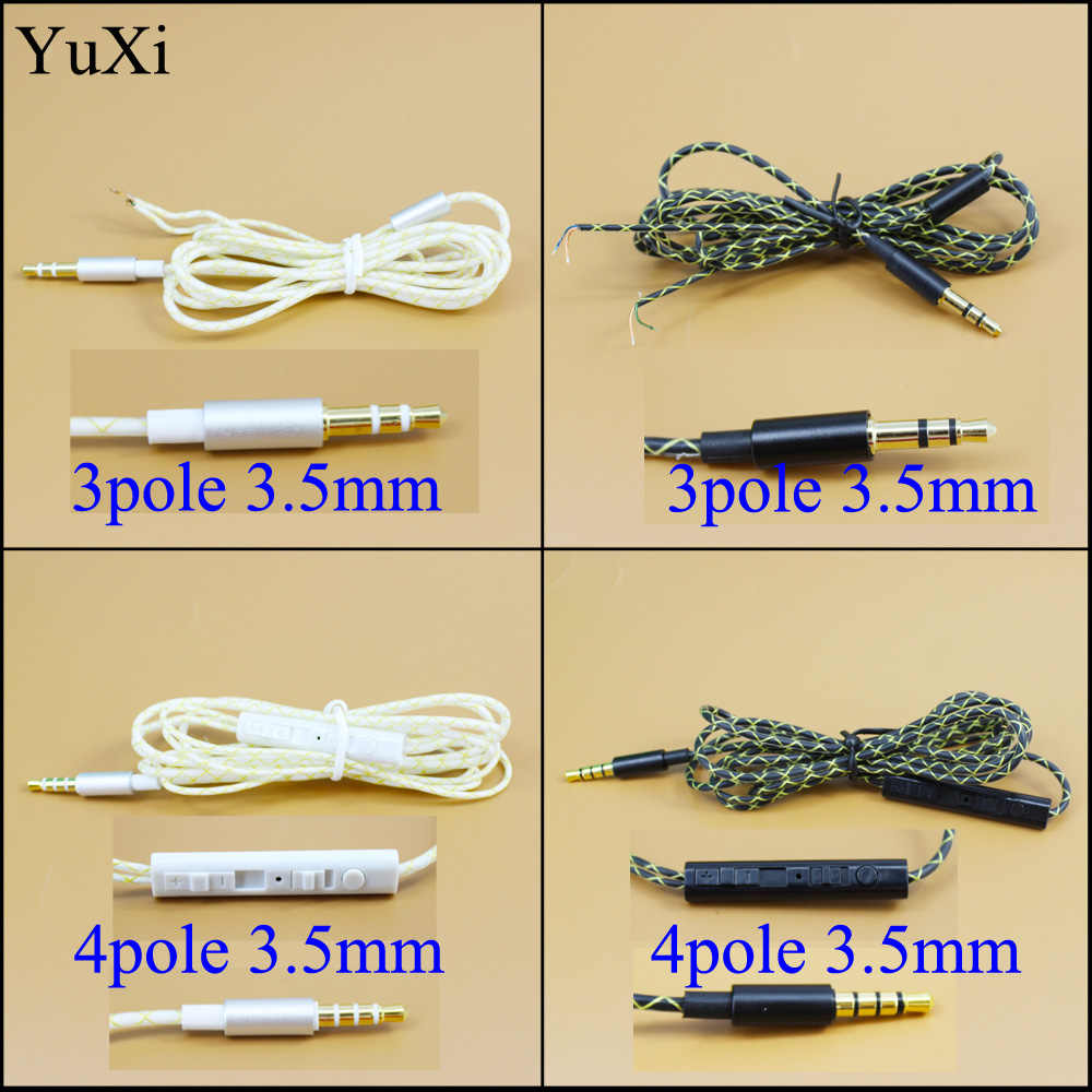 diy 3 5mm earphone audio cable with mic controller headphone semi finished cables repair replacement [ 1000 x 1000 Pixel ]