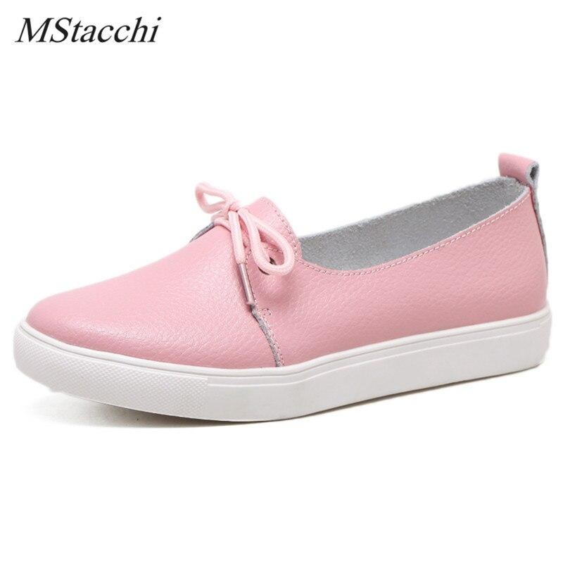 Mstacchi Neue Vier Jahreszeiten Freizeit Schuhe Concise Lace up Student Schuhe Frauen Wohnungen Schuhe Aus Echtem Leder Nähen Skate Femme Schuhe