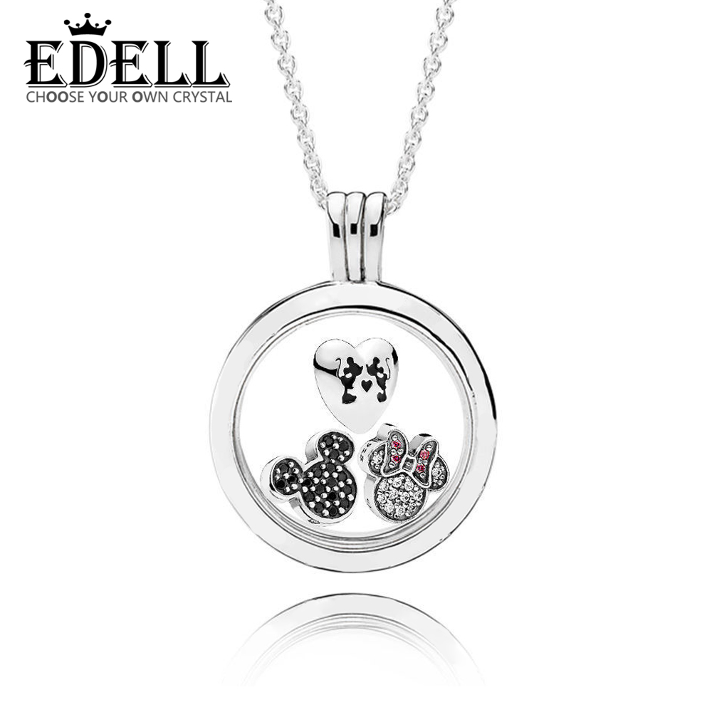 EDELL 100%925 Sterling Silver Original  Sparkling  Floating Locket Necklace with Pendant Charm Bead Authentic Fine Jewelry GiftEDELL 100%925 Sterling Silver Original  Sparkling  Floating Locket Necklace with Pendant Charm Bead Authentic Fine Jewelry Gift