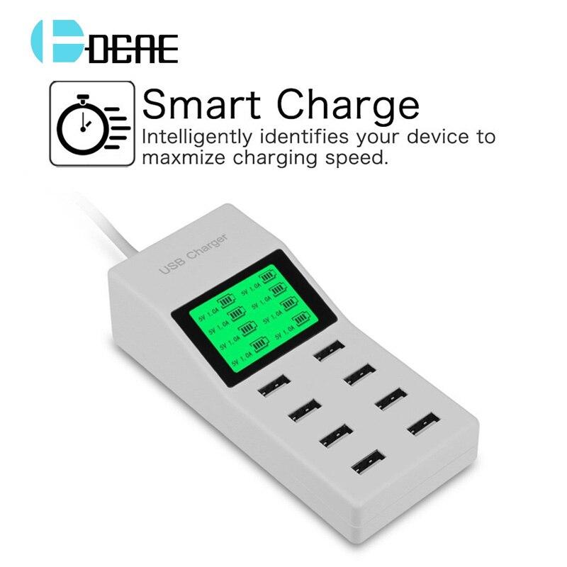 8 Ports USB Wall Charger LED Display Screen US EU UK Plug Ad