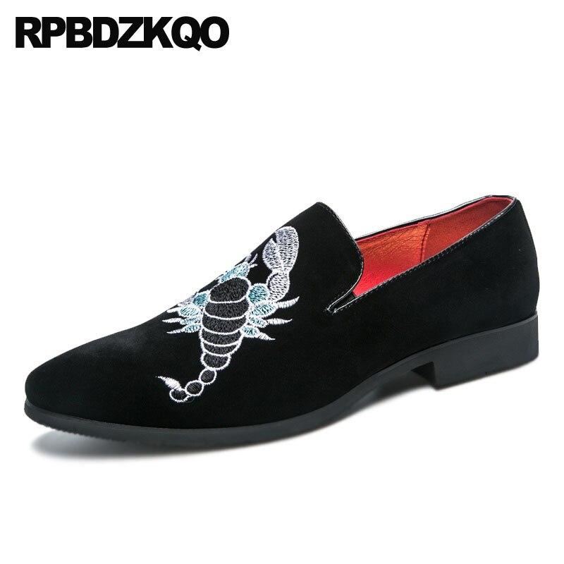 rouge Hommes Chaussures Caoutchouc British On Pointu Cuir Noir Grande Taille Daim Confort Bout 2018 Noir Slip Style En Casual Partie Broderie CtQrsdh