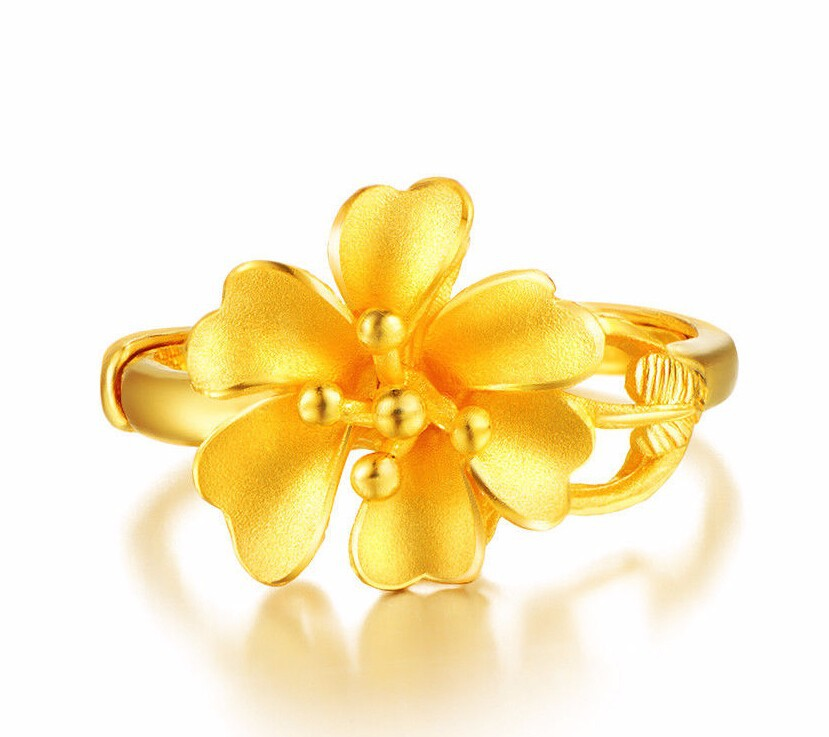 Fashion  Authentic 999 Solid 24K Yellow Gold Ring / Six Flower love Ring / 6-7g / Us:4-10Fashion  Authentic 999 Solid 24K Yellow Gold Ring / Six Flower love Ring / 6-7g / Us:4-10