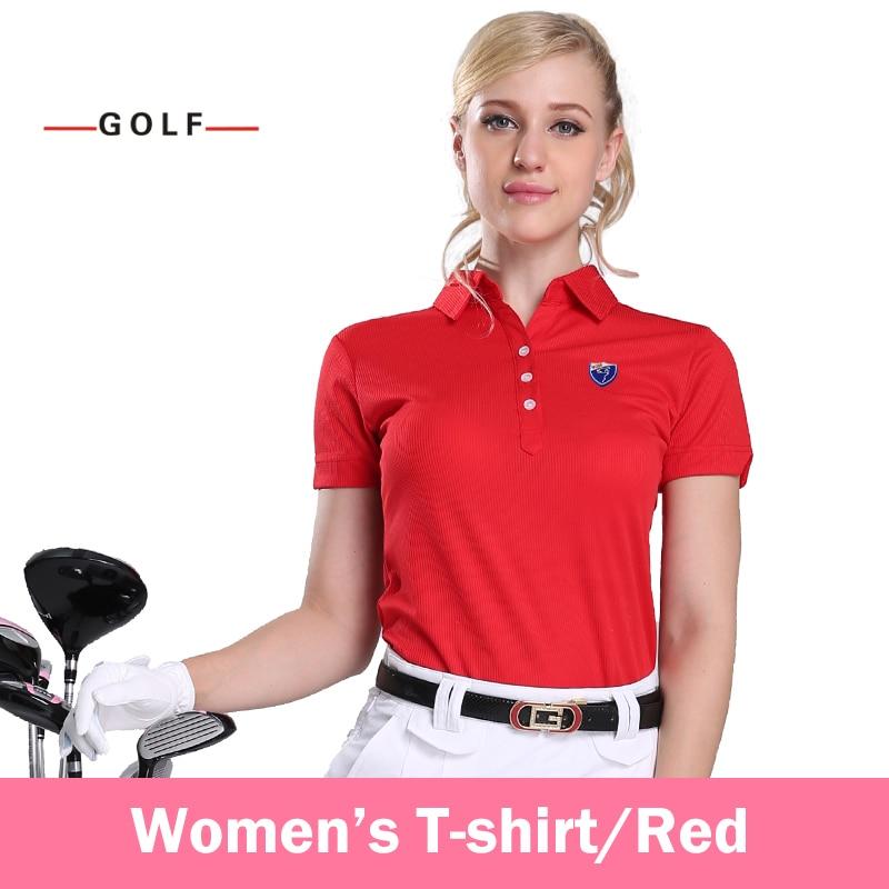 Ladies Golf Clothing Sports Shirts Short Sleeve T-shirt Genuine(Red)