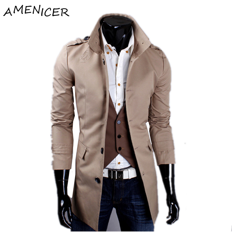 6faf757ba4f 2016 Famous Brand Men Long Trench Coat Single Breasted Beige Brand Clothing  Pea Coat Manteau Homme Casaco Masculino